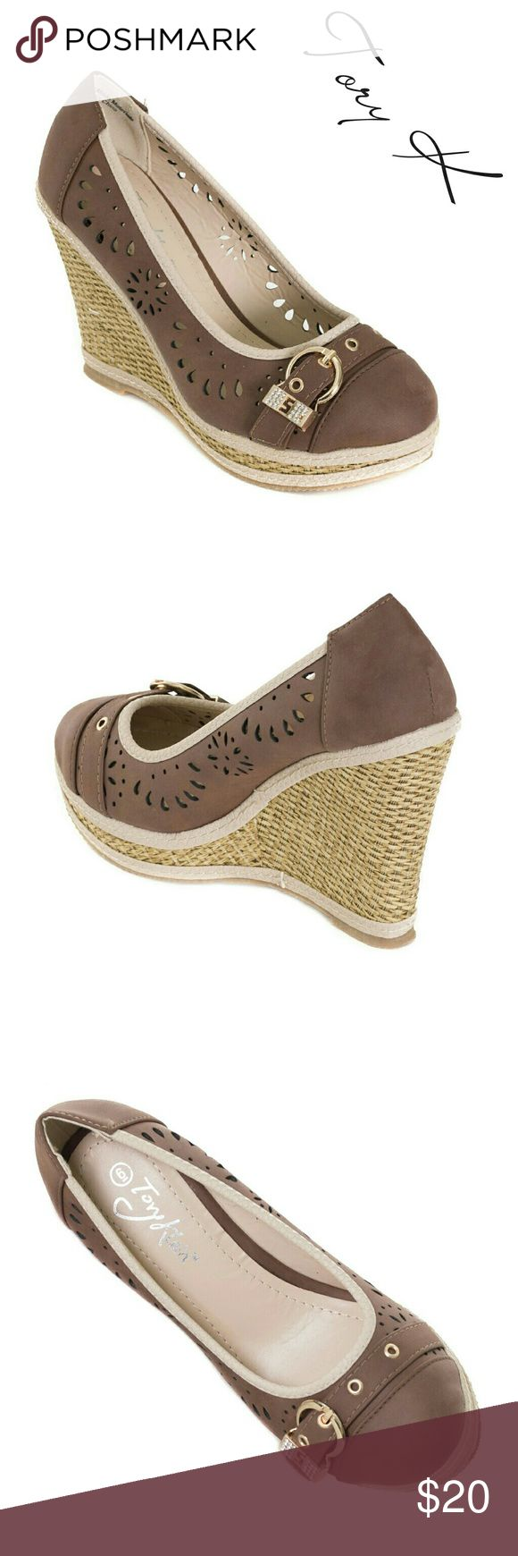 """Women Buckle Wedge Espadrilles, HW-1675, Brown Brand new Tory K perforated woman brown wedge espadrille sandals with a shiny belt-like buckle. 4"""" woven platform, these run a bit small. PU leather. A true statement in ladies shoes fashion! Size 9 measures 9.5 inches on the inside of the sole, all sizes are half an inch apart in length. Tory K  Shoes Wedges"""