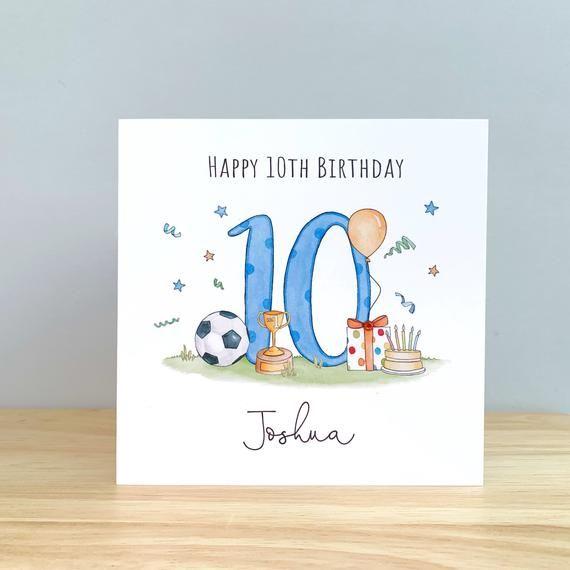 Personalised Boys Birthday Card Football Birthday Cards Etsy In 2021 Watercolor Birthday Cards Cards Handmade Handmade Birthday Cards