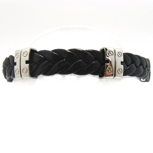 Black leather weaved/braided strap with 4 decorative stainless steel hinges.  Measures 8 1/2 cm or 21 inches end to end.  Can be worn by male or female.  Stainless steel clip. #gndgems #bracelet #leather #stainlesssteal
