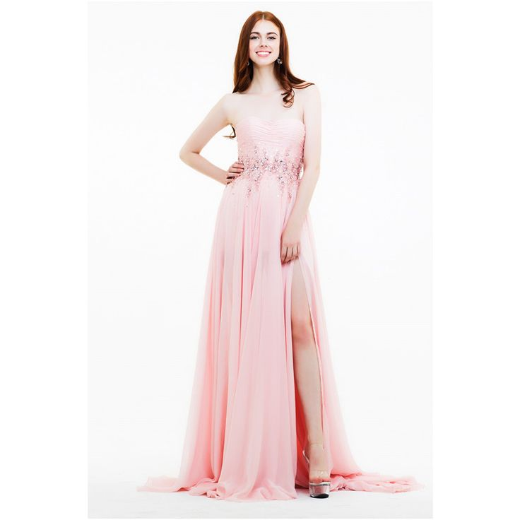 Find More Evening Dresses Information about Sweetheart Long Evening Dress 2016 Chiffon Pleat Beaded Evening Gowns vestido de festa Side Slit Women Dresses For Wedding Party,High Quality dress stretch,China dress deb Suppliers, Cheap dress princes from Galaxy Wedding Dress Co., Ltd. on Aliexpress.com