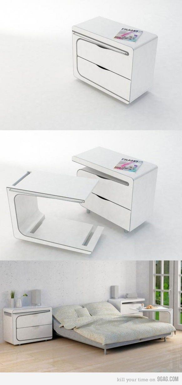 Such a practical and clever and space-efficient design for a bedside table by Maria Cichy