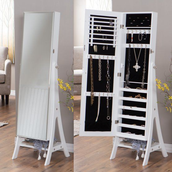 Belham Living White Full Length Cheval Mirror Jewelry Armoire with Lock