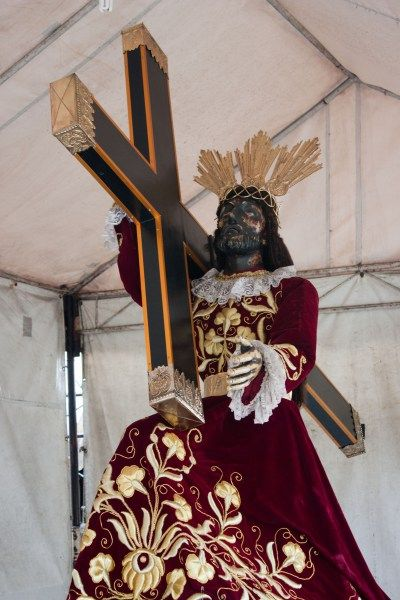 The Black Nazarene, known to devotees in Spanish as Nuestro Padre Jesús Nazareno is a life-sized, dark wooden sculpture of Jesus Christ carrying the cross, believed to be miraculous by many Filipino Catholics.
