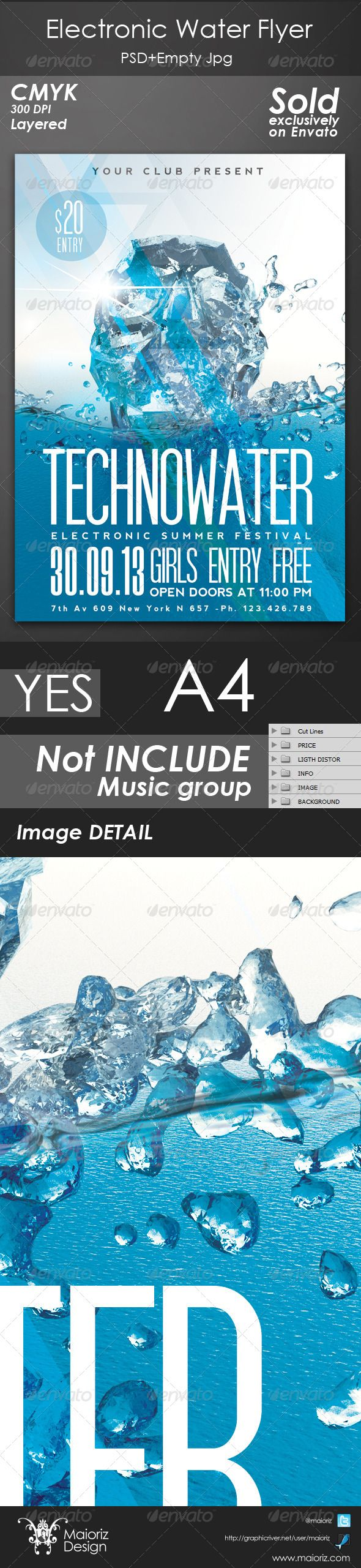 Poster design background psd - Electronic Water Flyer