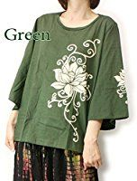 UP03GREEN_全3色 ロータス柄 ゆったり プルオーバーワンピ チュニック カットソー 緑 紫 半袖 ロータスプリント