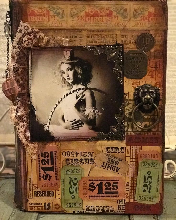 "20 Likes, 2 Comments - The Mad Fox Madison (@mad_fox__studios) on Instagram: ""Vintage Circus Junk Journal cover finally finished. Sometimes you have walk away for a few days and…"""