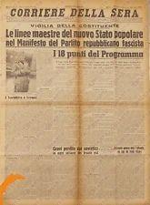 1943 CORRIERE DELLA SERA RSI Costituzione REPUBBLICA SOCIALE Ebrei sono nemici