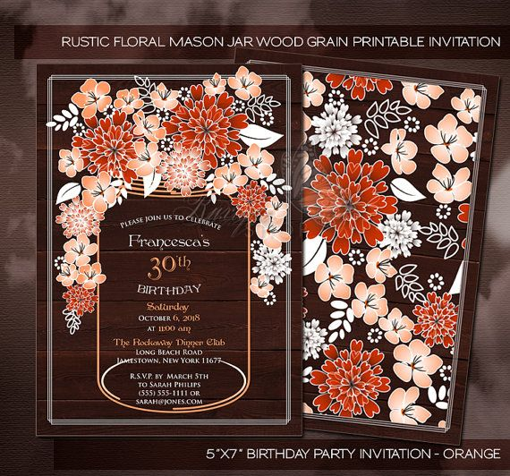 Rustic Floral Mason Jar Wood Grain Bridal Shower by Ruxique