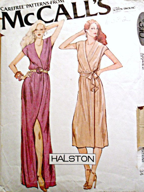 Misses Wrap Maxi Dress or Dress Sleeveless Sexy Vintage 70's Sewing Pattern Halston McCall's 6532 Size 12 Bust 34