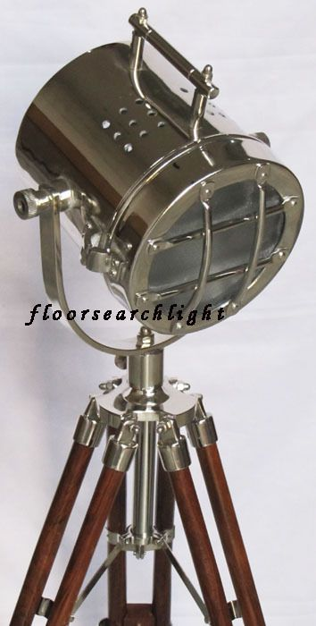 NAUTICAL CHROME SEARCHLIGHT W/ TRIPOD STAND SPOT SEARCH LIGHT STUDIO TABLE LAMP