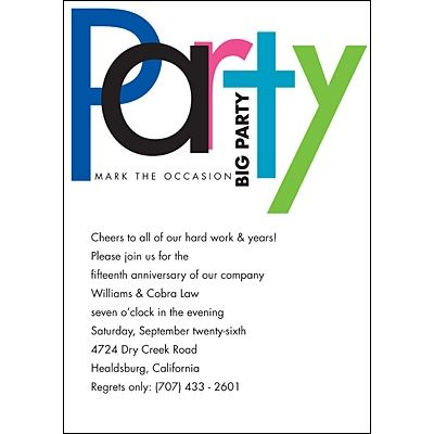 work party invitation wording