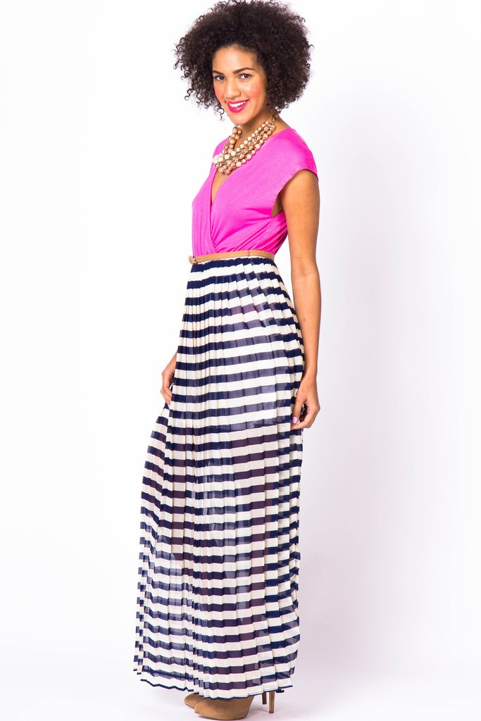 In love with fashion pleated maxi dress