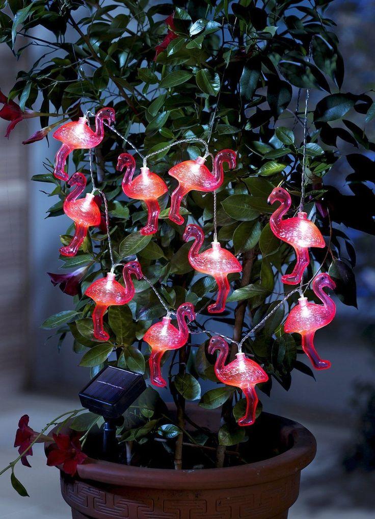 Solar Lichterkette Flamingo Gartenfigur Deko Gartentier Tierfigur Solarlicht DS in Garten & Terrasse,Beleuchtung,Sonstige | eBay