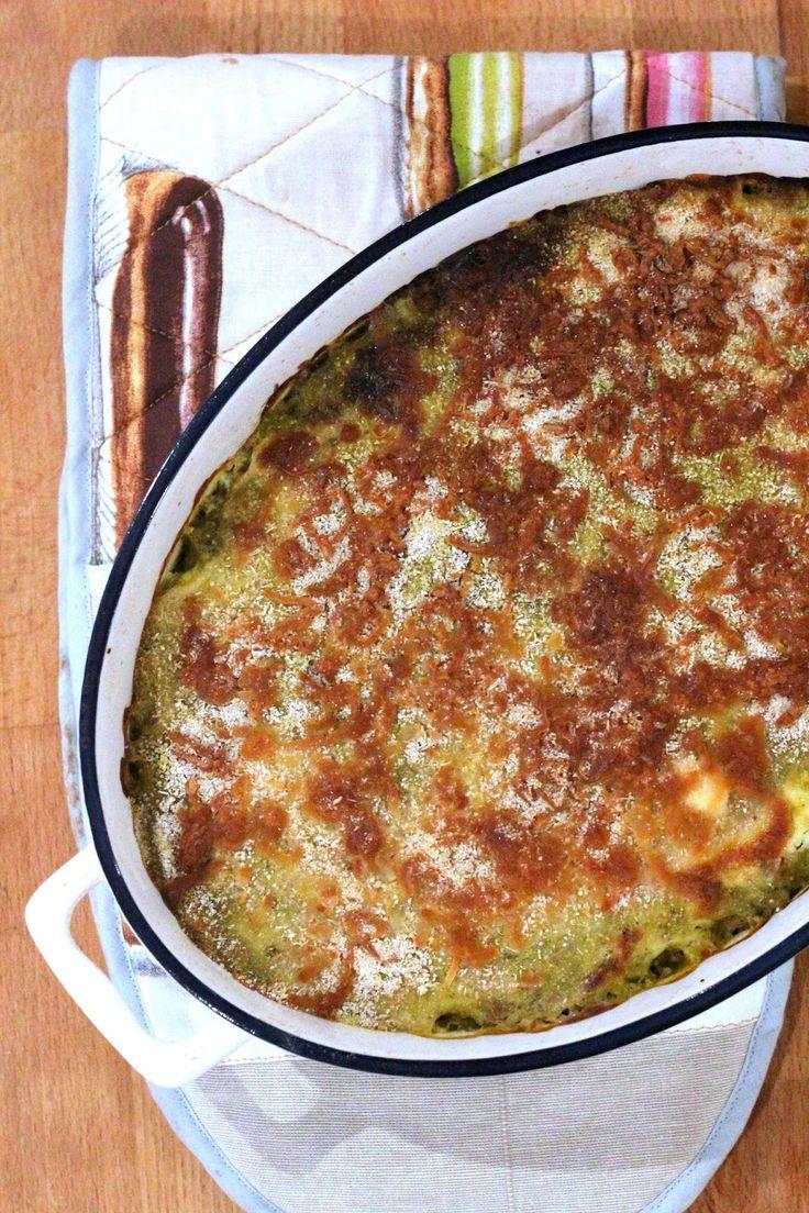 Bacalhau Gratinado com Puré de Brócolos e Cenoura
