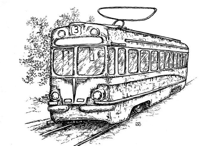 длина стрижки контурная картинка трамвая были