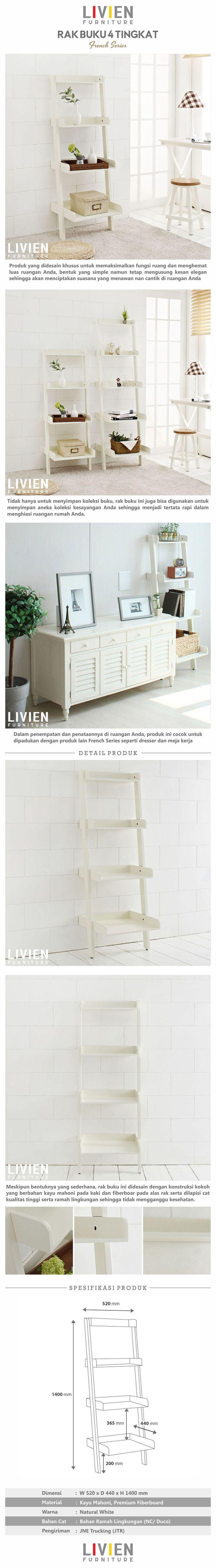 Rak Buku French Series (4 Tingkat)  #homedecor #livingroom #homeideas #interiorideas #furniture
