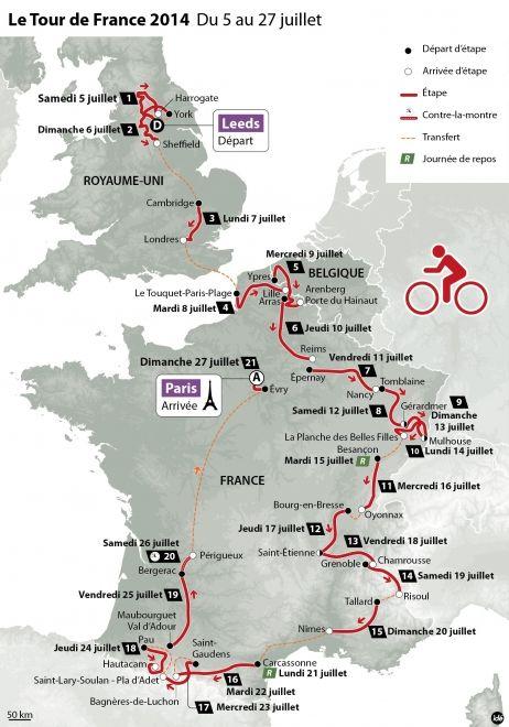 Les Vosges et les Pyrénées en vedette, cinq arrivées au sommet, des pavés et un seul contre-la-montre : les organisateurs ont dévoilé ce mercredi à Paris le tracé de l'édition 2014 du Tour de France.