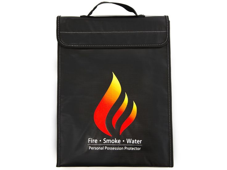 "FSW Fire/Smoke/Water Resistant Document Bag (15""x11""x2.5"") Improved 2017 Design. Easy Carry Handle With Zipper+Velcro Closure: Money Bag For Passports, Documents, Valuables, Jewelry, Lipo Batteries"