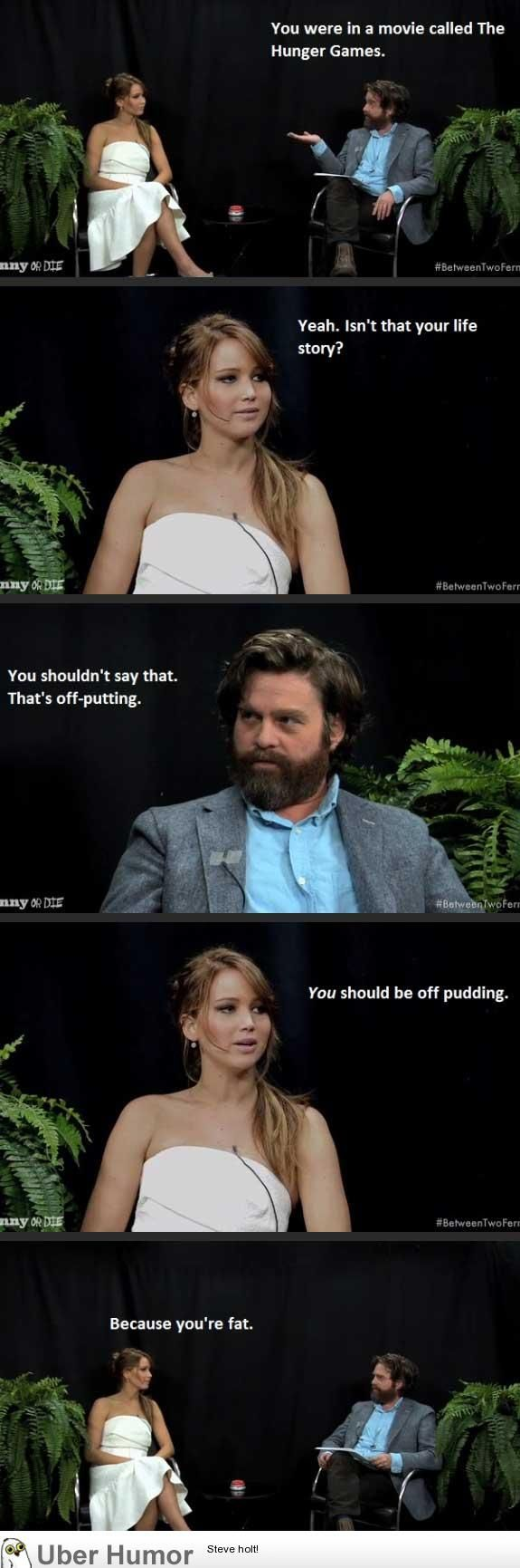 I love this episode of Between Two Ferns because Zach Galifianakis is from my hometown, and J. Lawr is from my husband's town/where we got married. So it's like... meant to be?