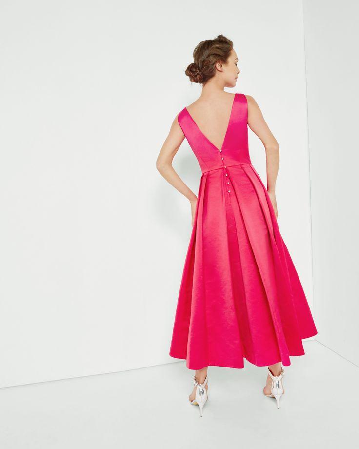 Structured V-neck ballerina dress - Fuchsia | Dresses | Ted Baker UK