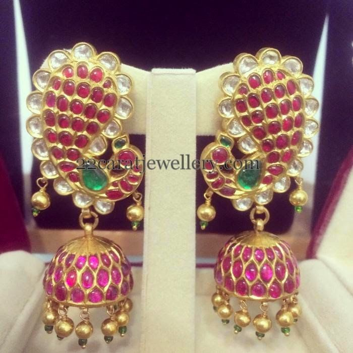 Jewellery Designs: Peacock Ruby Jhumkas