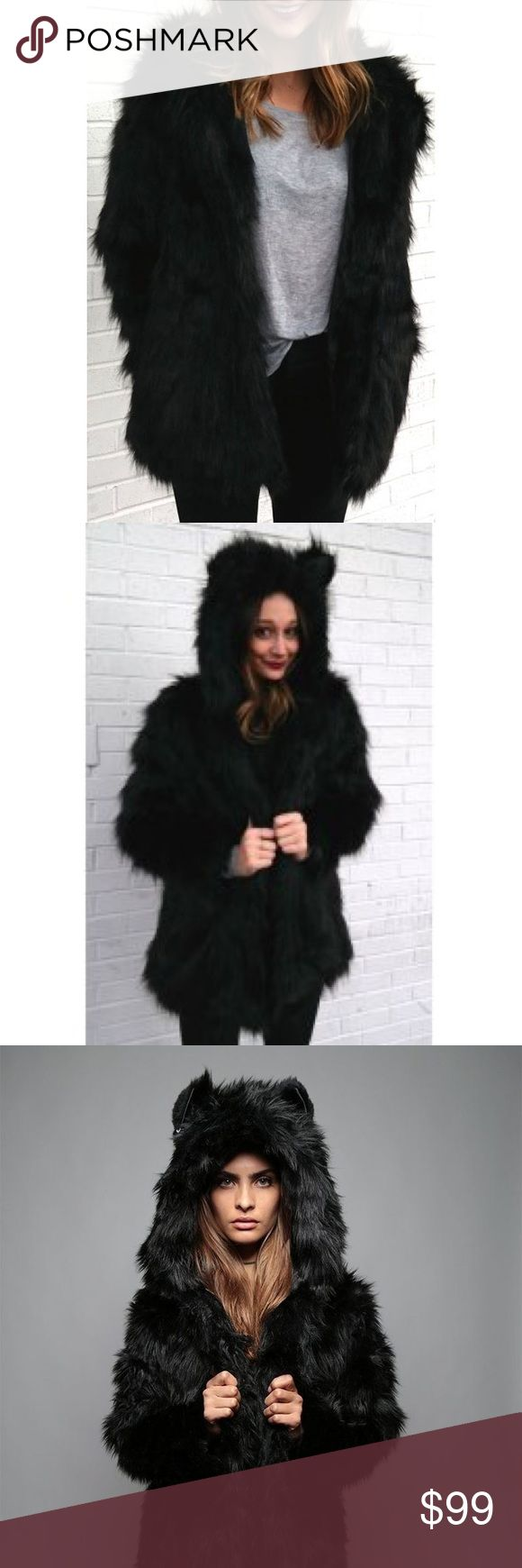 Black Faux Fur Bear Jacket Fabulous black faux fur snuggle jacket with adorable bear ears on the hood; purchased from an online boutique in size xxl but it runs a bit small in my bust. I'm labeling it as large/xl. Measurements and more photos to come. The perfect cozy coat; exact coat in the first two stock photos, the other two are the same jacket with wolf ears. Brand new but untagged as it was an online purchase. Never worn. Jackets & Coats
