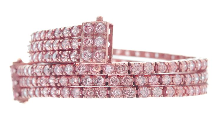 bracciale triplo tennis rosa
