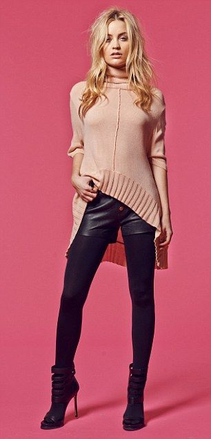 Stylish: Laura in a knitted tunic by Chloe Jones