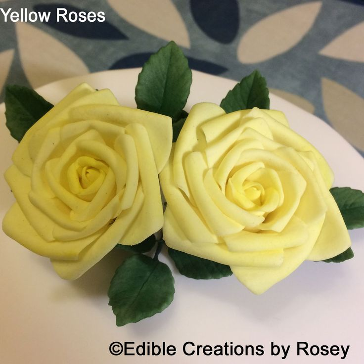 Yellow curled edge sugarpaste roses by Edible Creations by Rosey
