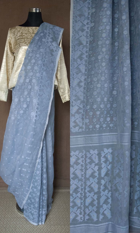 m54b Sabeki Old Bengal Hand Woven Soft Muslin Silk Cotton Jamdani Sari