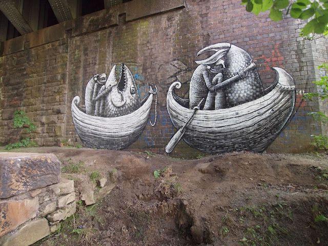 Artist Phlegm does old-skool etching-style graffiti.