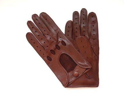 These gloves are made of tan brown lambskin, in a classic design. They close with a leather dressed snap at the wrist.