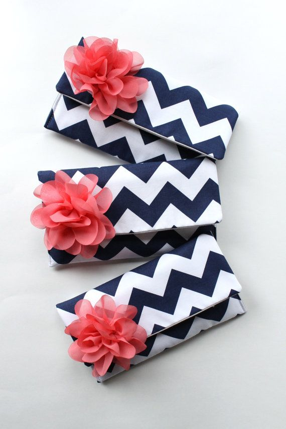 Navy and Coral Pink Bridesmaid Clutch, Chevron Clutch Set of 3, Bridal Clutch Purse, Personalized Bridesmaid Gift on Etsy, $126.00