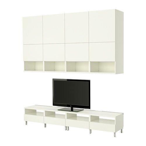 IKEA - BESTÅ, Combinaison meuble TV, , La circulation de l'air autour des appareils électroniques est optimisée grâce aux fentes dans la partie supérieure du banc TV.En dessous de la grille de ventilation vous pouvez dissimuler des câbles et des prises qui restent faciles d'accès, pour brancher temporairement un ordinateur par exemple.Système intégré pour organiser les câbles en les gardant à portée de main mais hors de vue.Pieds réglables pour une grande stabilité même sur supports…