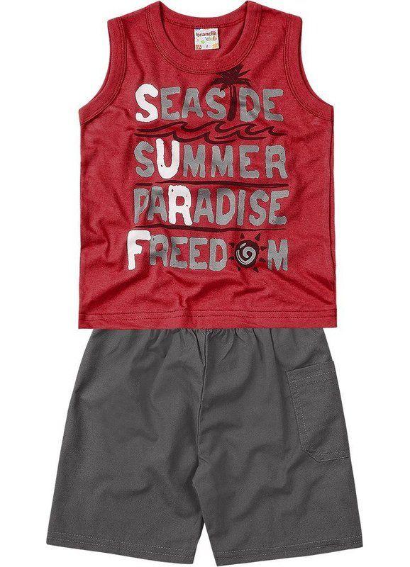 Conjunto Regata Summer Vermelha e Bermuda - R$ 44,90  Para adquirir acesse: http://www.purezababy.com.br/conjunto-brandili-regata-summer-vermelha-e-bermuda