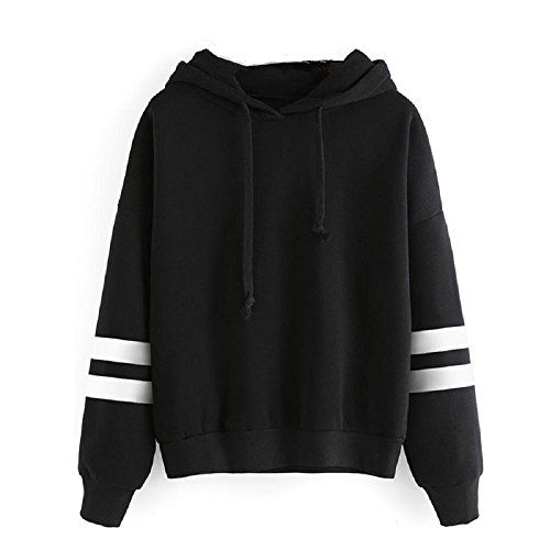 Luweki Womens Long Sleeve Hoodie Sweatshirt Jumper Hooded Pullover Tops Blouse (L, Black)