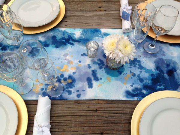 reception inspiration: Watercolor Table Runners from Bramble Workshop { @Patti Manville }