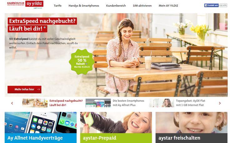 Speziell auf die Bedürfnisse seiner türkischen Zielgruppe abgestimmte, innovative Produkte entwickelt der Mobilfunkanbieter AY YILDIZ. AY YILDIZ ist 100%-Tochter der E-Plus Mobilfunk GmbH & Co. KG mit Sitz in Düsseldorf.   http://www.ayyildiz.de