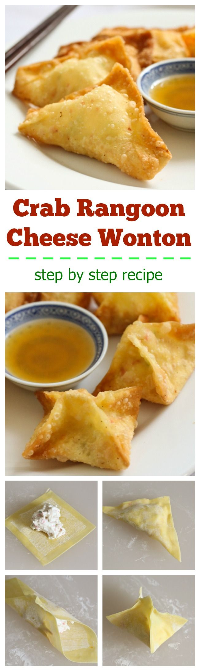 Crab rangoons aka cheese wontons or cheese puffs are a popular Chinese appetizer.  Following this simple step-by-step recipe to make for your next party!
