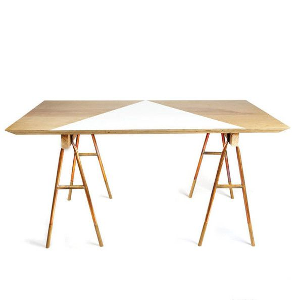 A wood and copper sawhorse desk from Michele Varian   Lonny