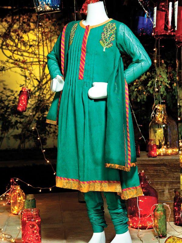 Junaid Jamshed Eid Dresses For Kids 2014 New Shalwar