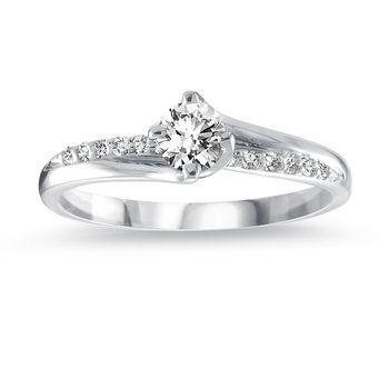 Bague  Dame Or blanc 14K Diamants totalisant 29pts Qualité I-GH Diamant central de 23pts