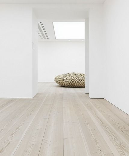 blank canvas. Beautiful 12 meter long wooden floors by Dinesen. The Saatchi Gallery, London.