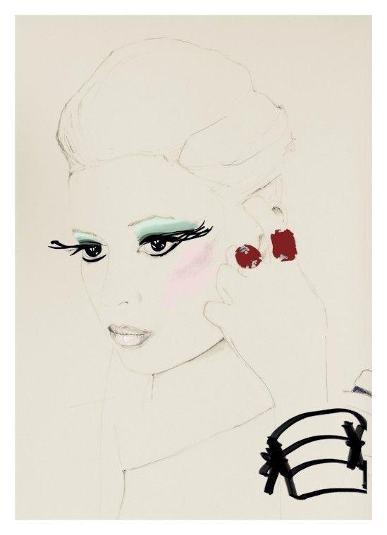 painting fashion art fashion illustration cream print by ARTbyLola, $28.00