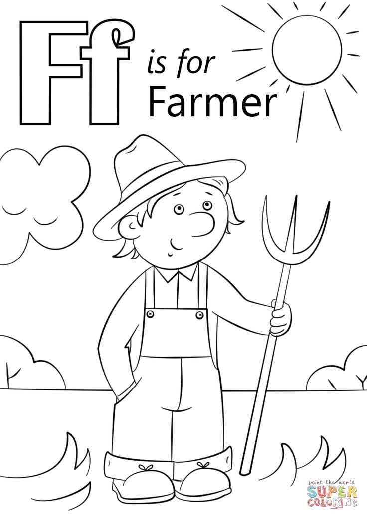 Letter F is for Farmer | Super Coloring | Preschool ... | colouring pages for preschool