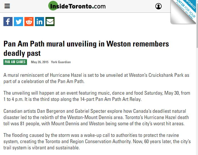 InsideToronto.com: Pan Am Path mural unveiling in Weston remembers deadly past