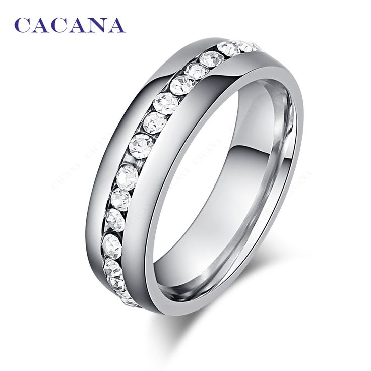 CACANA Stainless Steel Rings For Women CZ Diamond  Fashion Jewelry Wholesale NO.R26