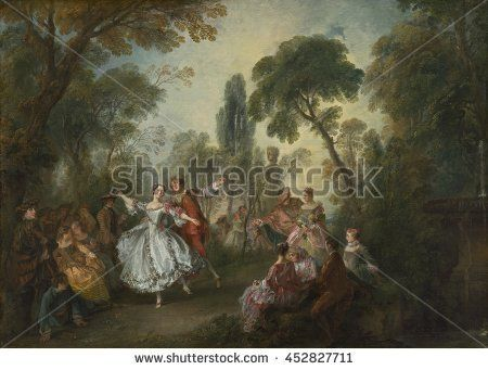La Camargo Dancing, by Nicolas Lancret, 1730, French painting, oil on canvas. Stylishly dressed spectators assembled in small groups to watch a couple perform a pas de deux. The female dancer depicte