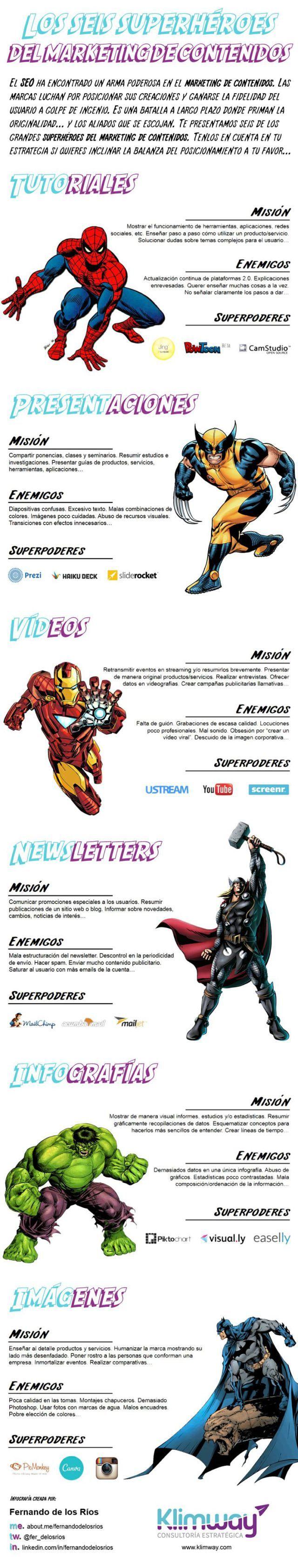 Los 6 superhéroes del marketing de contenidos #infografia #infographic #marketing