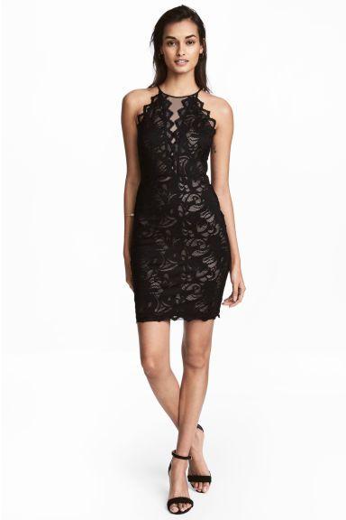 Krótka sukienka z koronki - Czarny - ONA | H&M PL 1
